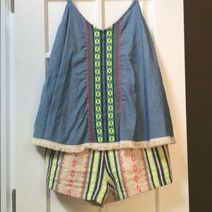 Judith March Other - Judith March chambray Aztec print romper.
